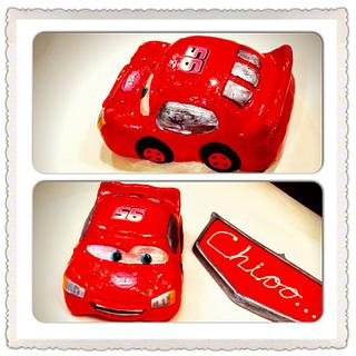 Edible Lightning McQueen Topper