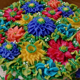 Vibrant Buttercream flower cake