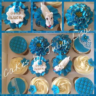 Turquoise Blue & Gold cupcakes with West Highland Terrier