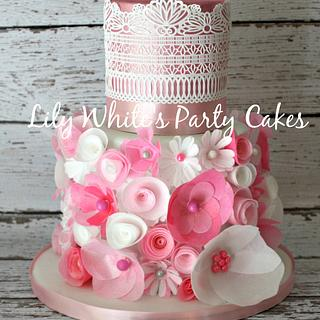 Wafer Paper Flower and Lace Cake