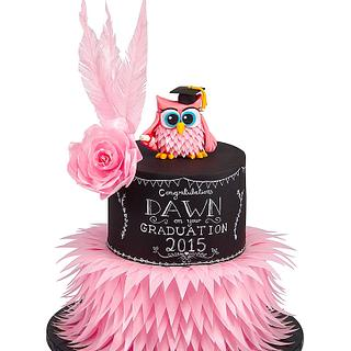 Chalkboard and Wafer Feather Graduation Owl