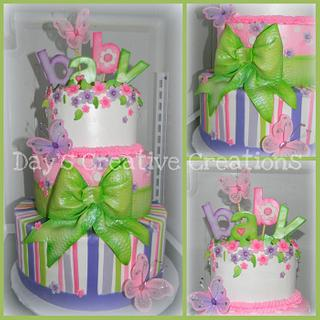 Pink and purple Butterfly Baby Girl  - Cake by Day