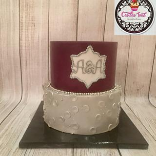 Magenta and silver Engagement cake