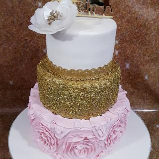 Ruffled pink and gold splendour - Cake by Santis