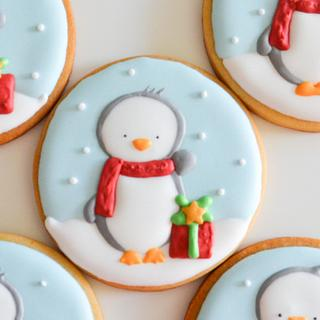 Winter penguin cookie