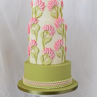 Bas Relief Pink Flowers Cake