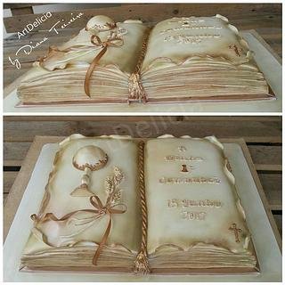 First Communion Cake - Open Book Religious Cake
