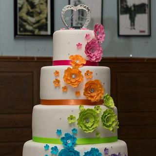 Crystal's Rainbow Wedding cake