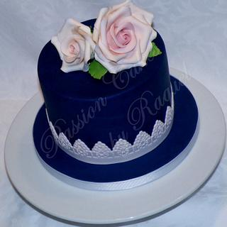 Blue Cake with Pink Roses