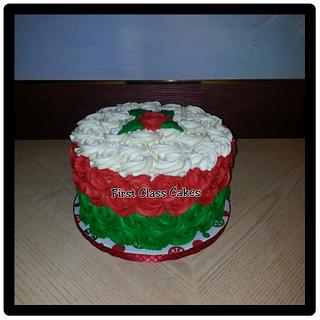 White, Red, Green Rosette Cake - Cake by First Class Cakes