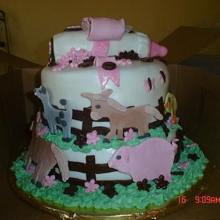 Farm Animal baby shower cake - Cake by Dana