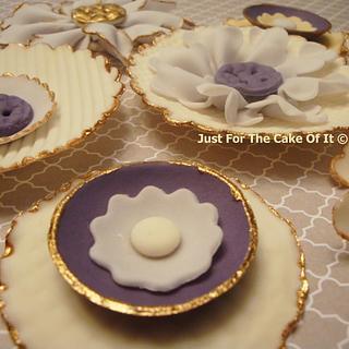 Cream & Purple Ruffle/Fabric Flowers
