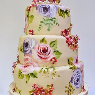Hydrangea and birds cake - Cake by Natasha Collins