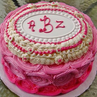 Rosette Ombre cake in buttercream w/ plaque