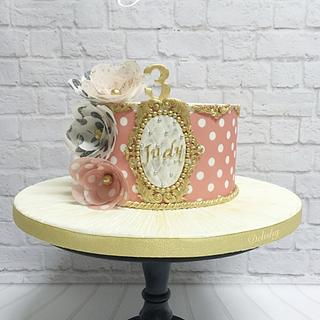 Pink and gold cake with wafer paper flowers