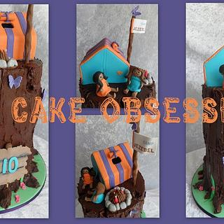 Camping girls cake