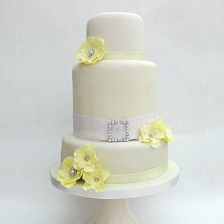 Yellow & a Ivory Wedding Cake Design