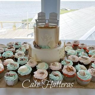 Small two tier with cupcakes