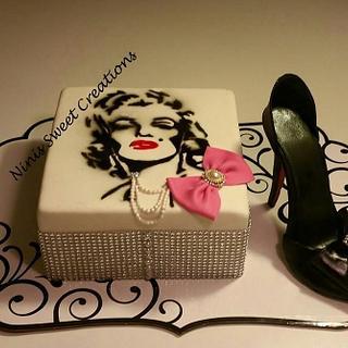 Themed Cake. Marilyn Monroe and Gumpaste Shoe Cake