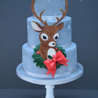 Vintage Reindeer Christmas cake