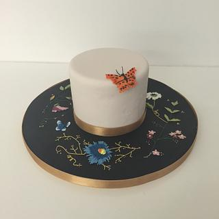 Embroidery butterfly cake