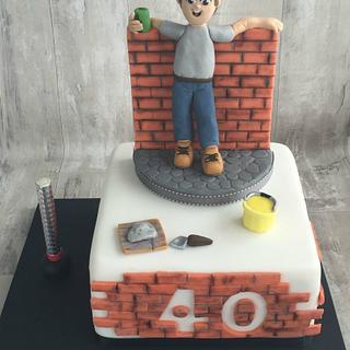 40th birthday Builder cake