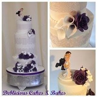 Purple and white wedding cake for Rebecca and Dave