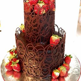 Strawberries and chocolate lace