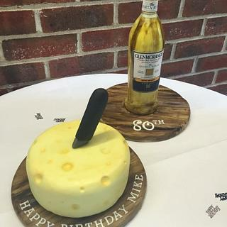 Handpainted whisky bottle with cheese