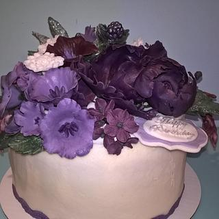 Basket of Blooms Purple - Cake by Ms. Shawn