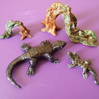 Lizards and sabine in honor of the island of El Hierro