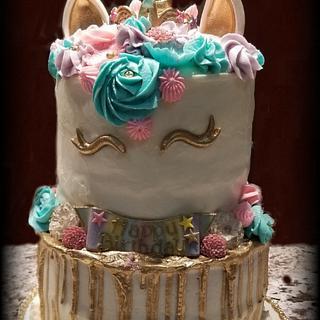 Unicorn Birthday Cake w/Gold Drip - Cake by eiciedoesitcakes