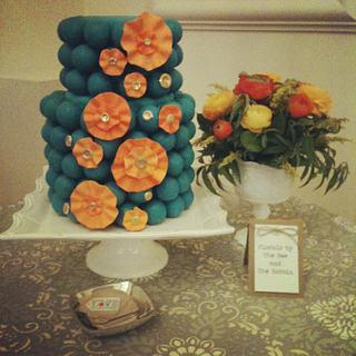 Teal and Orange cake ball cake