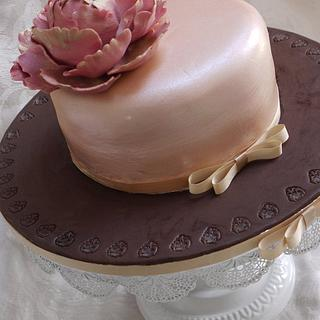 Peony Golden Wedding Anniversary Cake