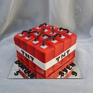 TNT Minecraft bomb - Cake by Tirki
