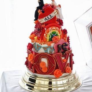 Love is all you need wedding cake - Cake by Sian