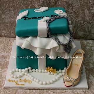 Tiffany box and shoe cake