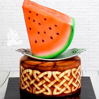 watermelon & carved wood