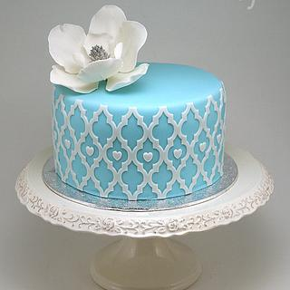 Blue Cake with Magnolia