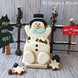 3D gingerbread snowman