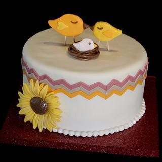 Kissing Birds Chevron cake - Cake by Jewell Coleman