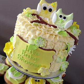 Lemon & Lime Owl Baby Shower - Cake by cjsweettreats