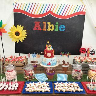 Birthday party dessert table