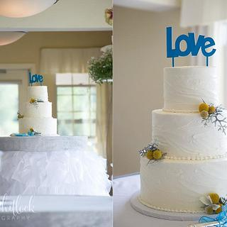 Soft textured buttercream wedding cake