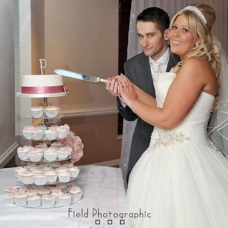Shabby Chic Wedding Cake/Cupcakes - Cake by Kelly Castledine - Kelly's Cakes & Tasty Bakes