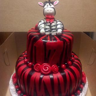 Red and Black Zebra Cake
