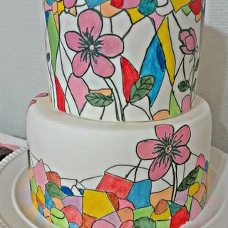 Stained Glass themed cake