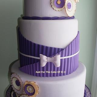 Purple crimping & fabric/ruffle flowers - Cake by Nicole - Just For The Cake Of It