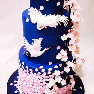 Oriental/cherry blossom themed wedding cake.