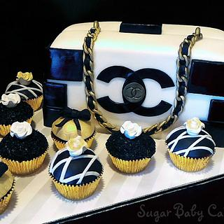 Chanel Purse Cake/Cupcakes - Cake by Kristi